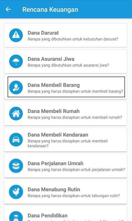 Dana Membeli Barang (Mobil) Aplikasi Finansialku 01
