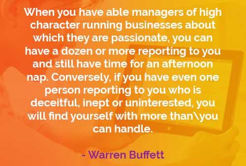 Kata-kata Bijak Warren Buffett: Manajer yang Menentukan